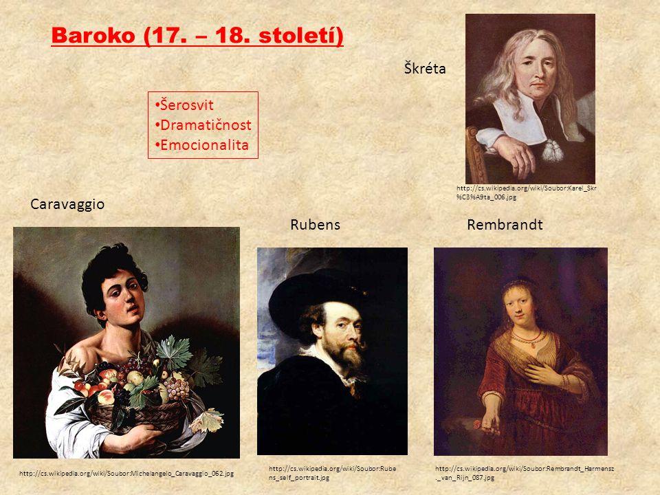 Baroko (17. – 18. století) Škréta Šerosvit Dramatičnost Emocionalita