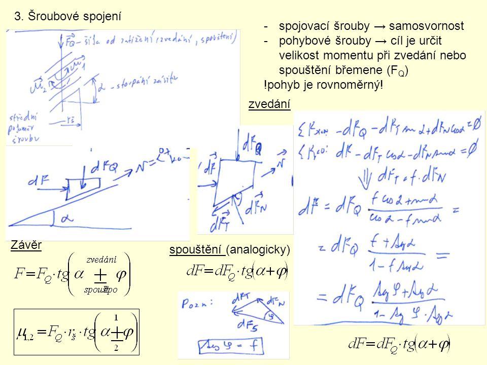 3. Šroubové spojení spojovací šrouby → samosvornost. pohybové šrouby → cíl je určit velikost momentu při zvedání nebo spouštění břemene (FQ)