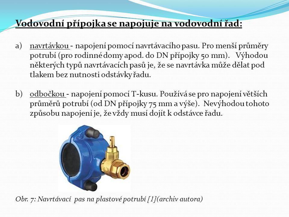 Vodovodní přípojka se napojuje na vodovodní řad: