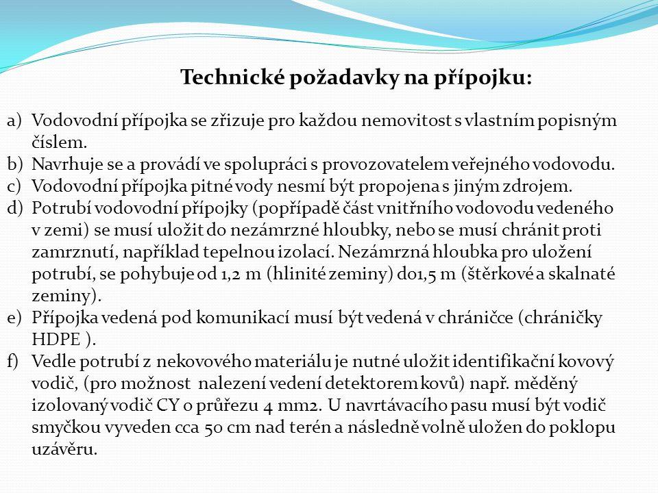 Technické požadavky na přípojku: