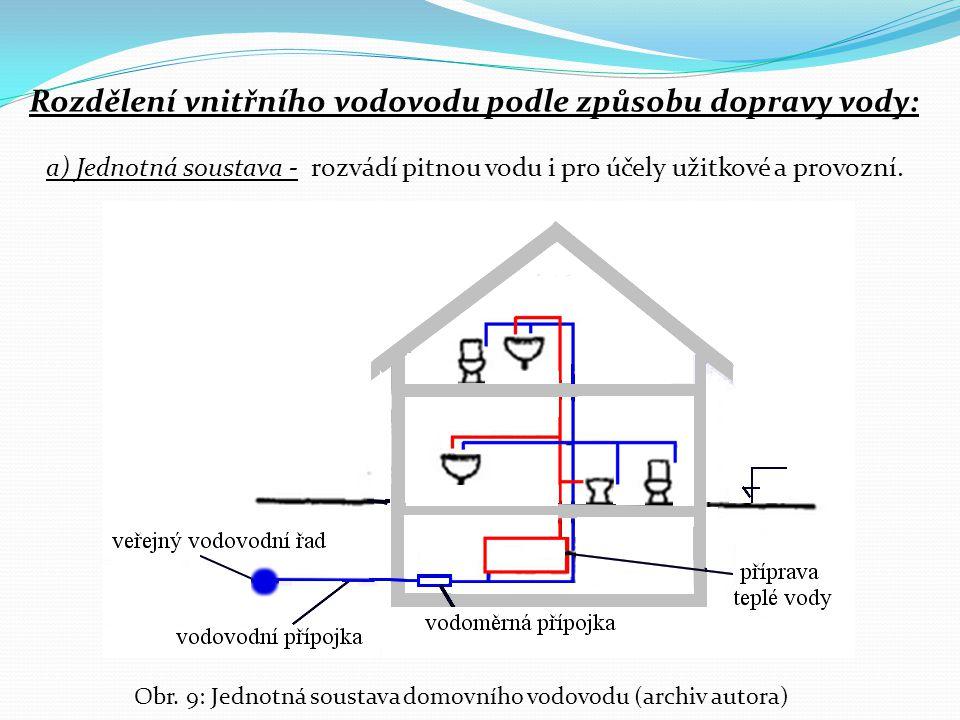 Rozdělení vnitřního vodovodu podle způsobu dopravy vody: