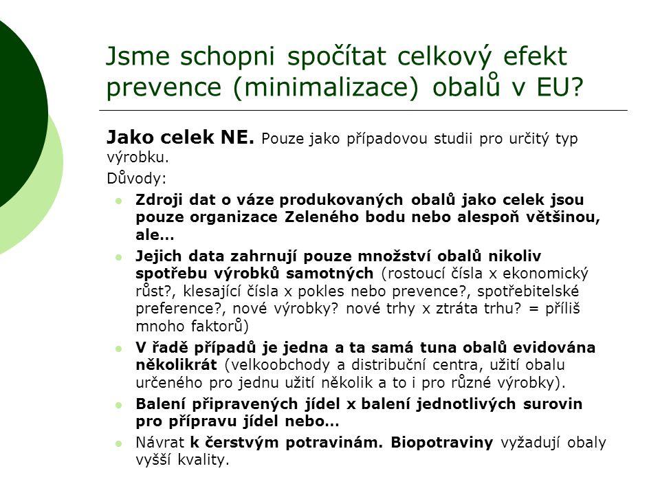 Jsme schopni spočítat celkový efekt prevence (minimalizace) obalů v EU