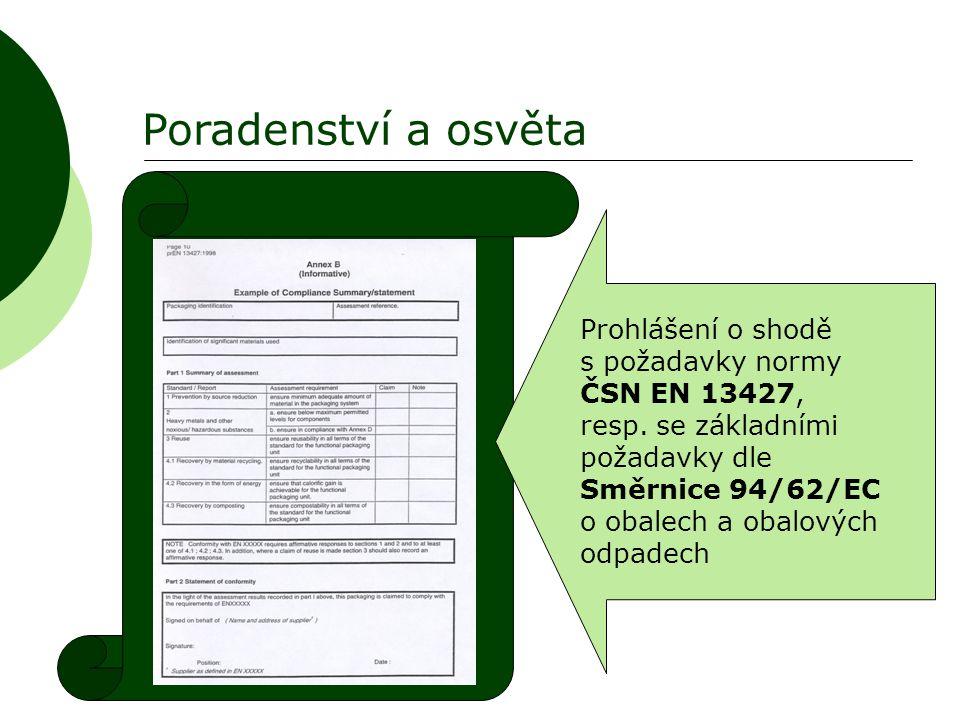 Poradenství a osvěta Prohlášení o shodě s požadavky normy