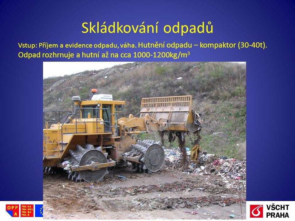 Skládkování odpadů Vstup: Příjem a evidence odpadu, váha.