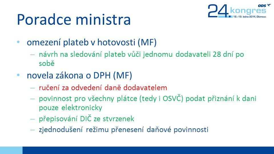 Poradce ministra omezení plateb v hotovosti (MF)