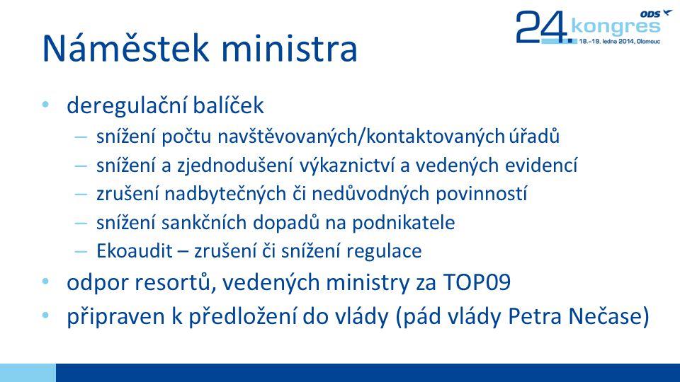 Náměstek ministra deregulační balíček