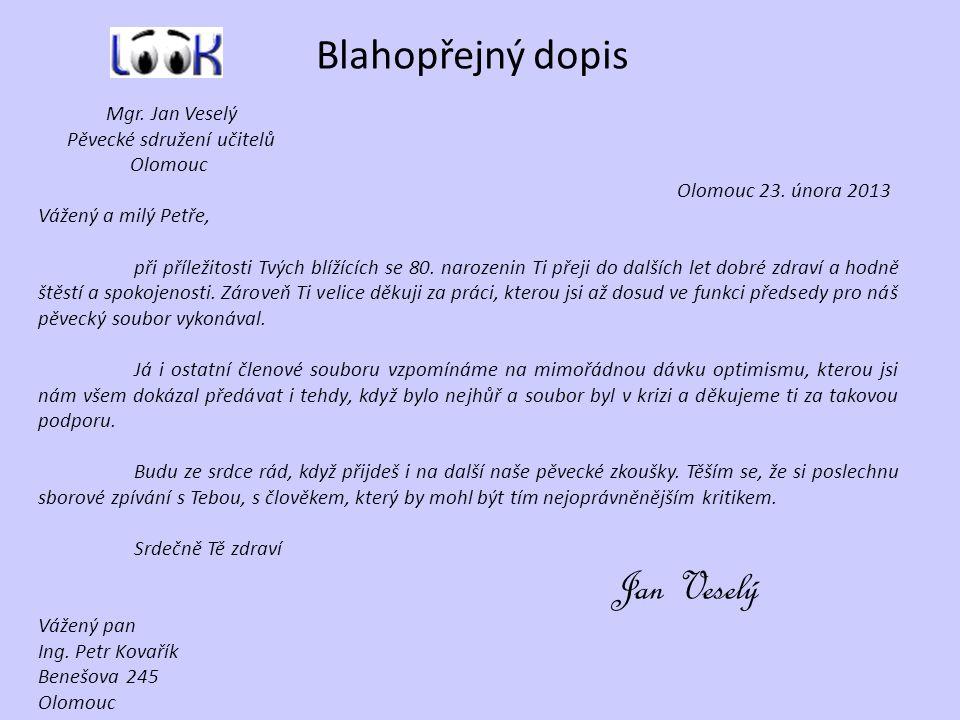 Blahopřejný dopis Mgr. Jan Veselý Pěvecké sdružení učitelů Olomouc