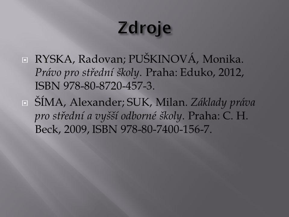Zdroje RYSKA, Radovan; PUŠKINOVÁ, Monika. Právo pro střední školy. Praha: Eduko, 2012, ISBN 978-80-8720-457-3.