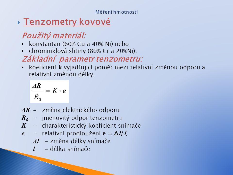Tenzometry kovové Použitý materiál: Základní parametr tenzometru: