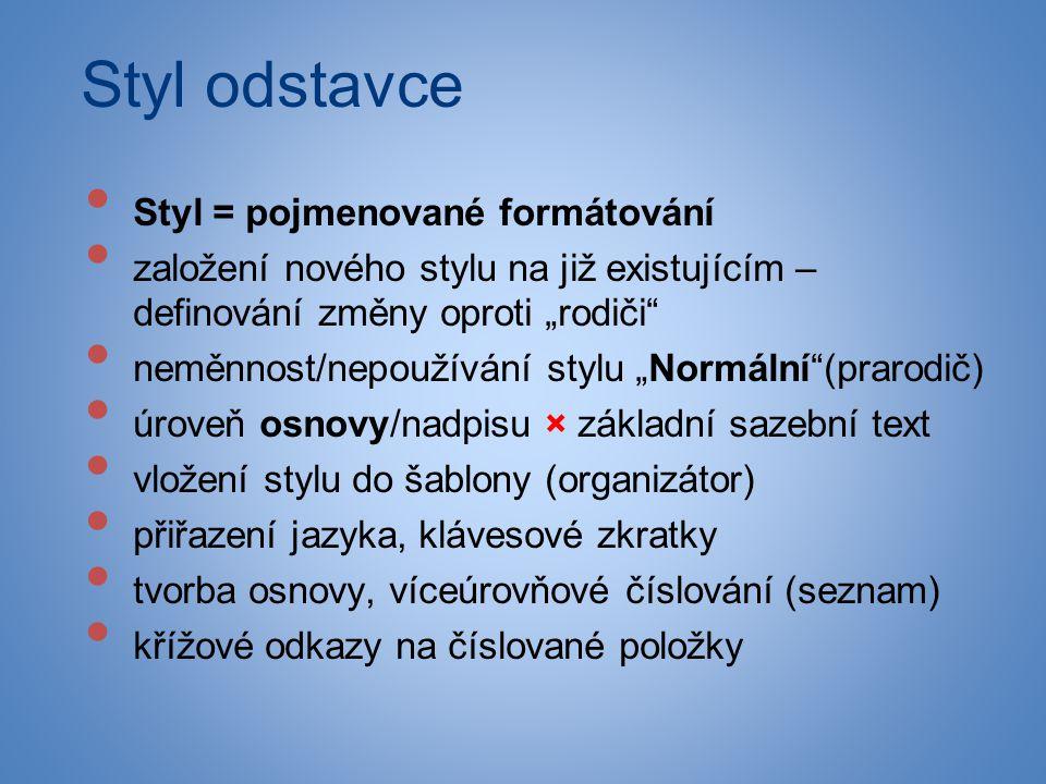 Styl odstavce Styl = pojmenované formátování