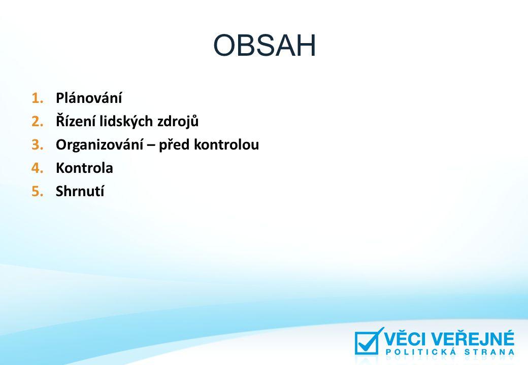 OBSAH Plánování Řízení lidských zdrojů Organizování – před kontrolou