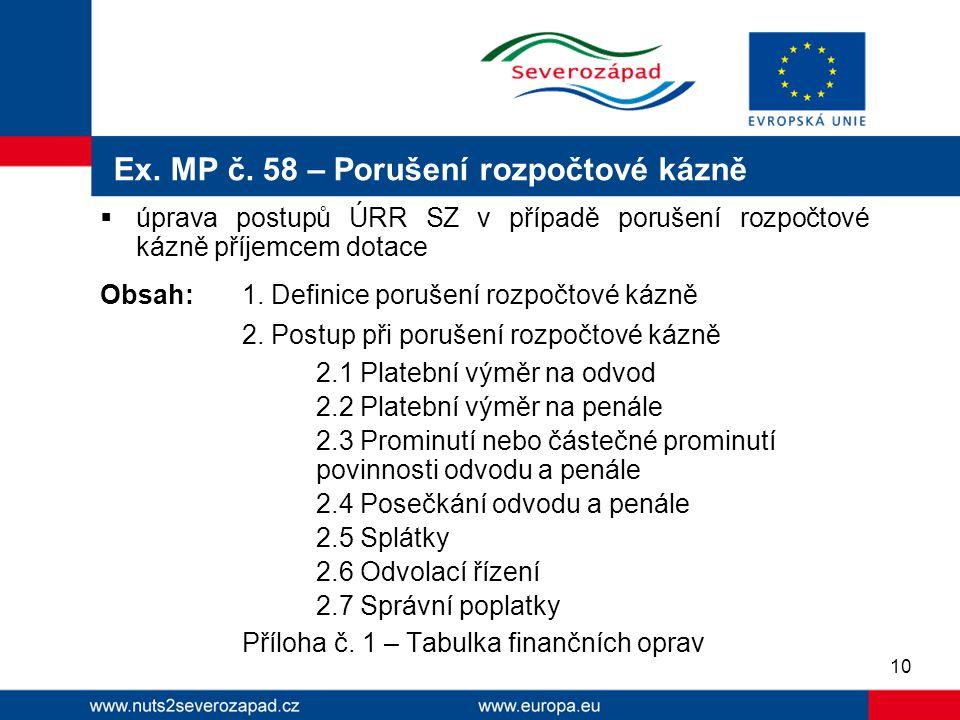 Ex. MP č. 58 – Porušení rozpočtové kázně