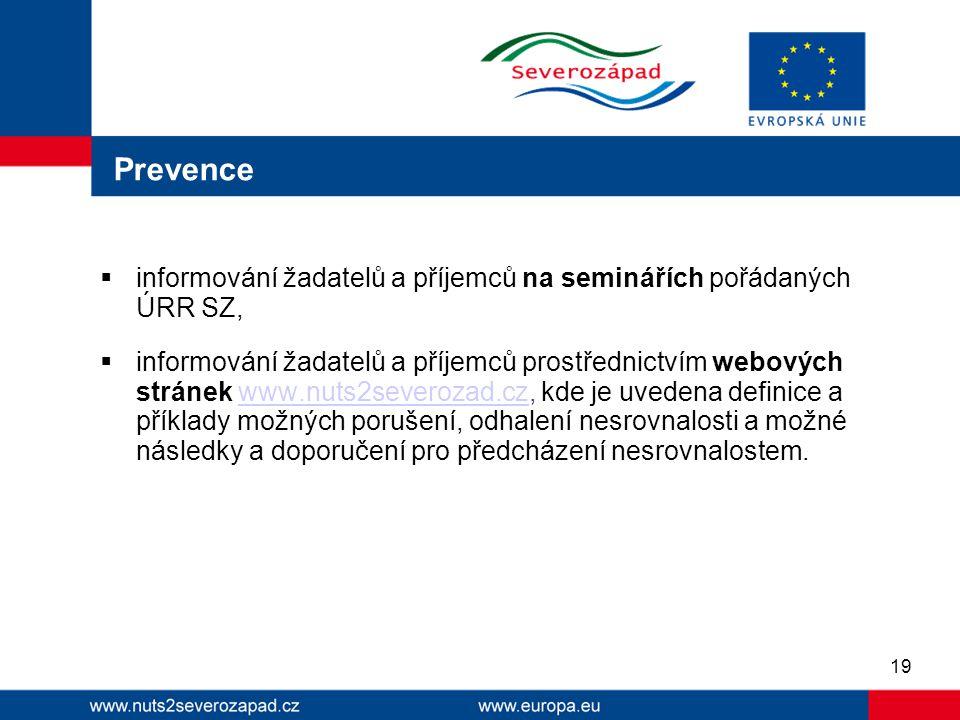 Prevence informování žadatelů a příjemců na seminářích pořádaných ÚRR SZ,