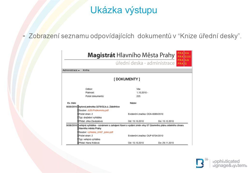 Ukázka výstupu Zobrazení seznamu odpovídajících dokumentů v Knize úřední desky . 17 17 17 17 17