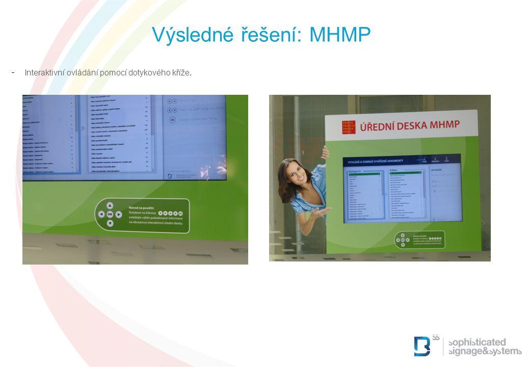 Výsledné řešení: MHMP Interaktivní ovládání pomocí dotykového kříže. 6 6 6 6 6