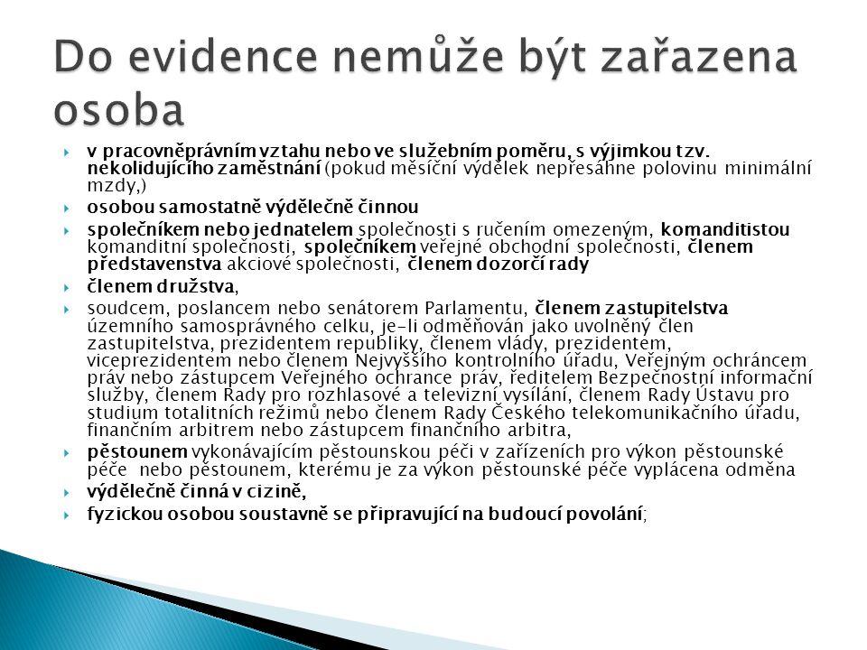 Do evidence nemůže být zařazena osoba