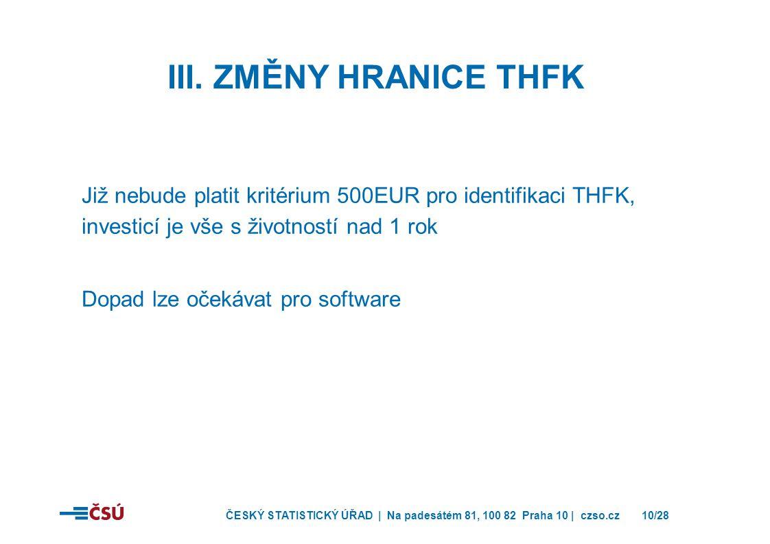 III. Změny hranice THFK Již nebude platit kritérium 500EUR pro identifikaci THFK, investicí je vše s životností nad 1 rok.