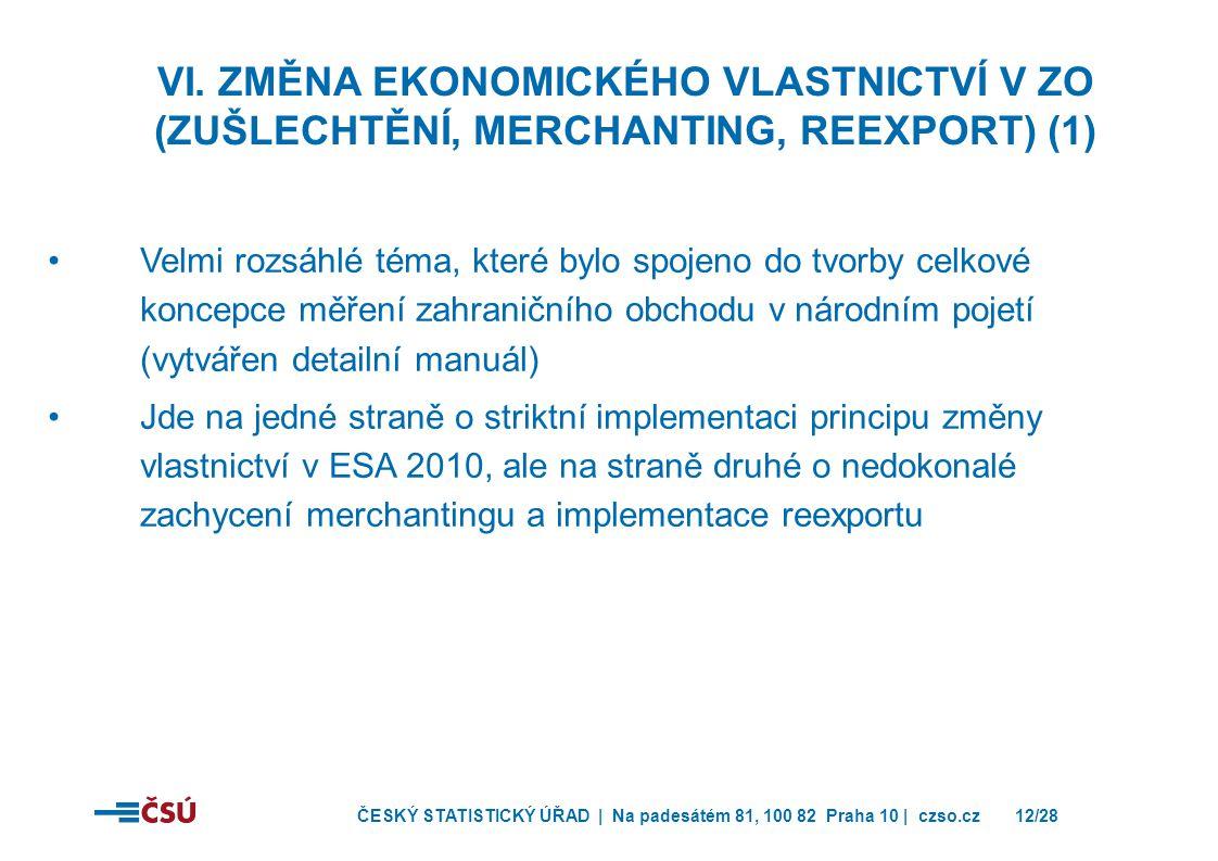 VI. Změna ekonomického vlastnictví v ZO (zušlechtění, merchanting, reexport) (1)