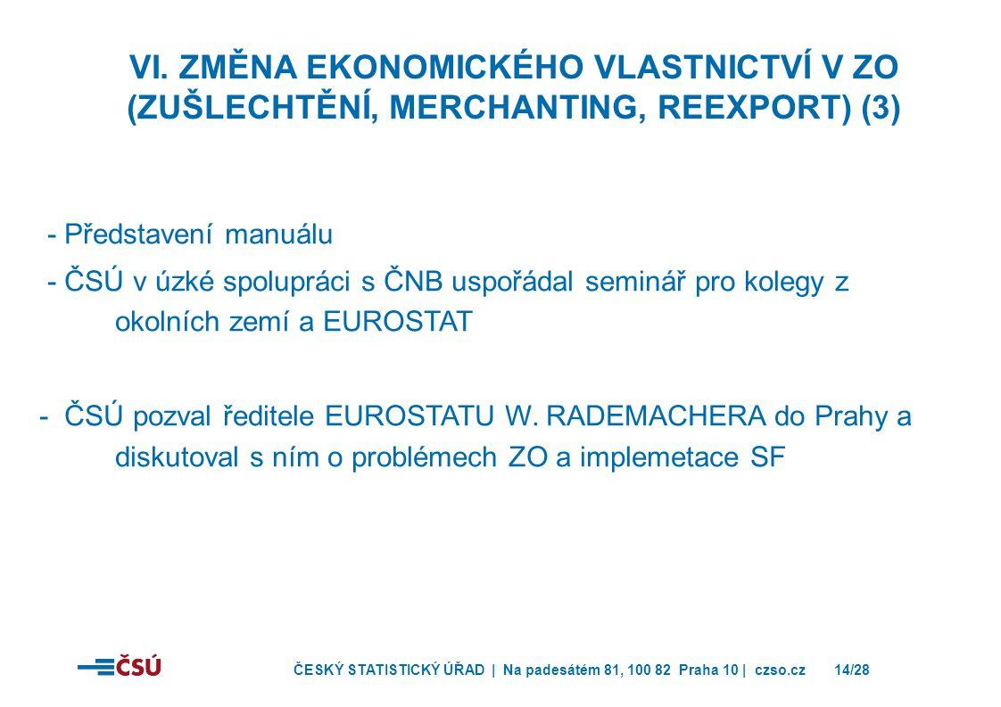 VI. Změna ekonomického vlastnictví v ZO (zušlechtění, merchanting, reexport) (3)