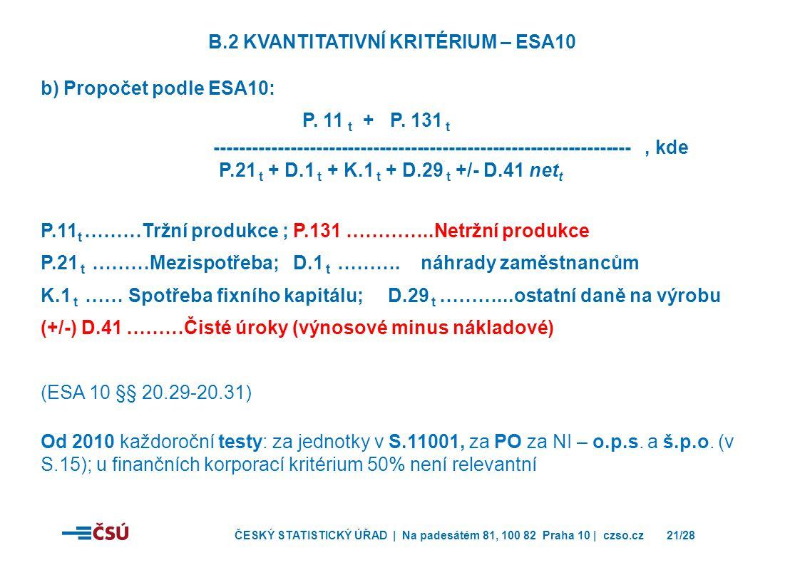 B.2 Kvantitativní kritérium – ESA10