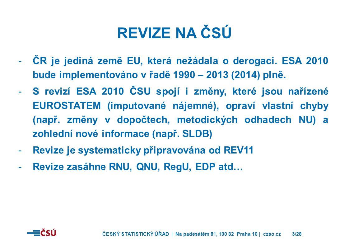 Revize na ČSÚ ČR je jediná země EU, která nežádala o derogaci. ESA 2010 bude implementováno v řadě 1990 – 2013 (2014) plně.