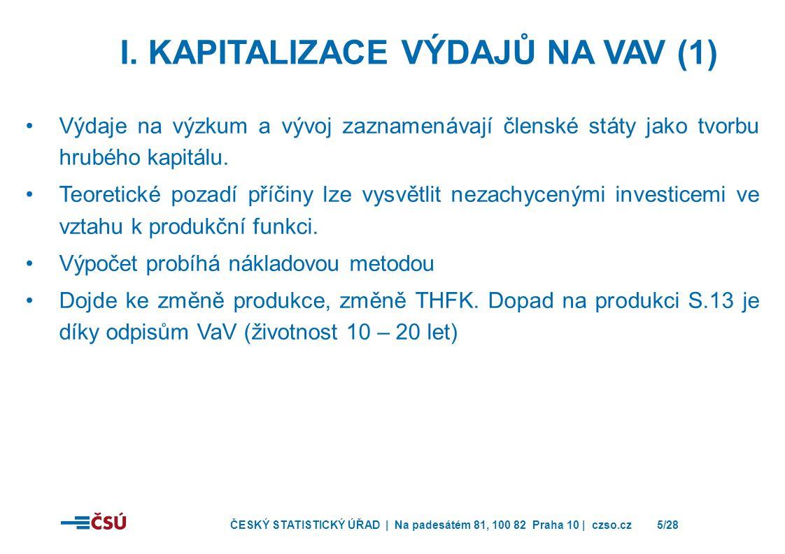 I. Kapitalizace výdajů na VaV (1)