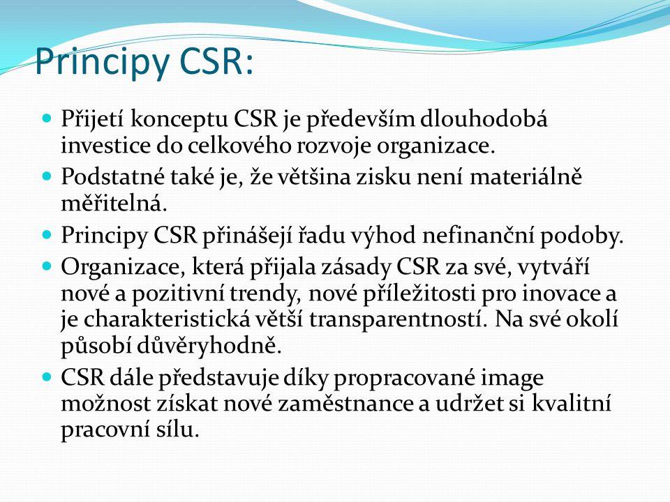 Principy CSR: Přijetí konceptu CSR je především dlouhodobá investice do celkového rozvoje organizace.