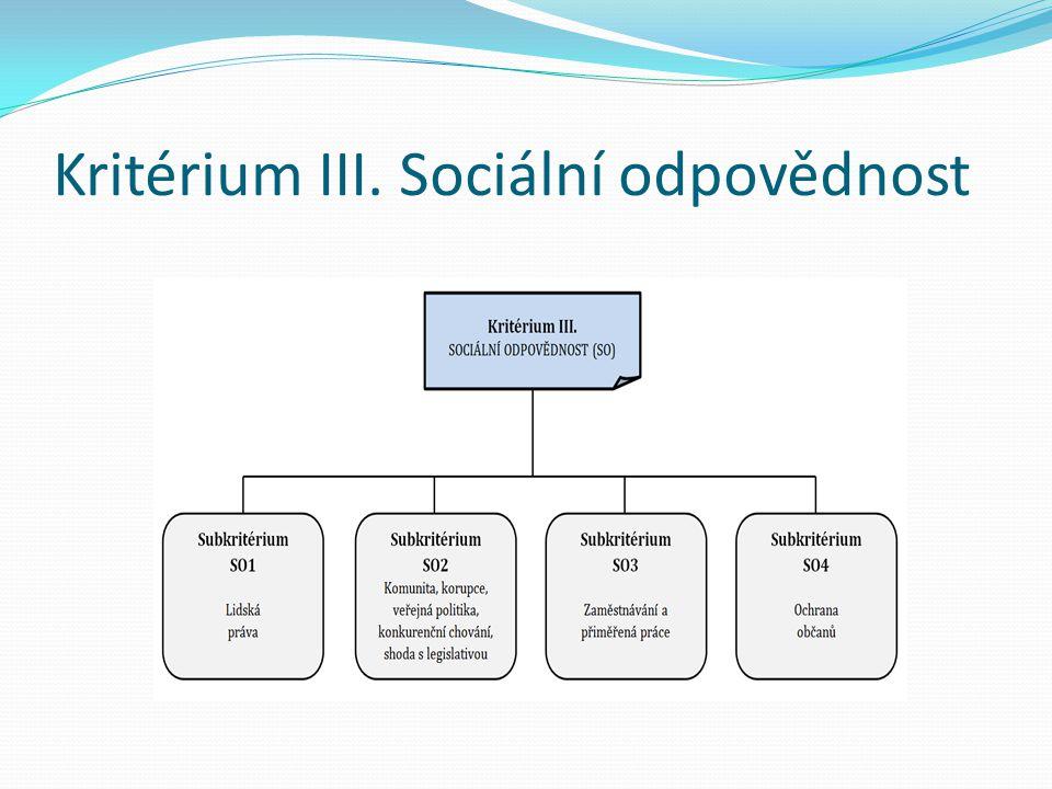 Kritérium III. Sociální odpovědnost