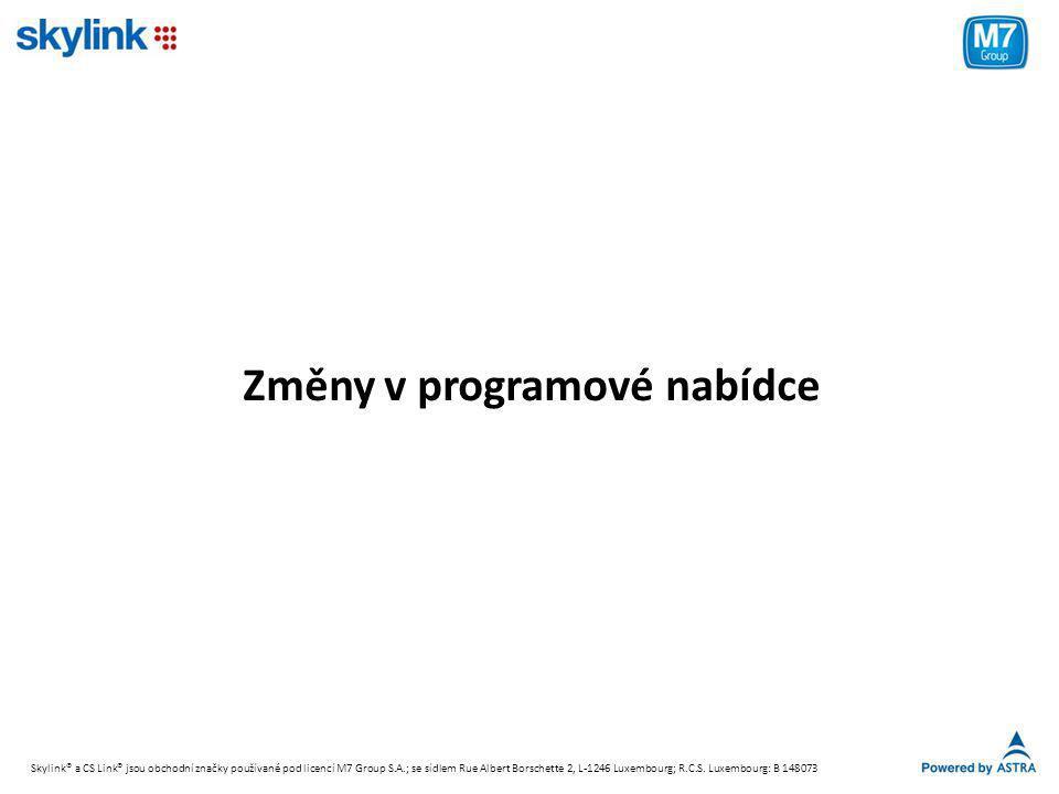 Změny v programové nabídce