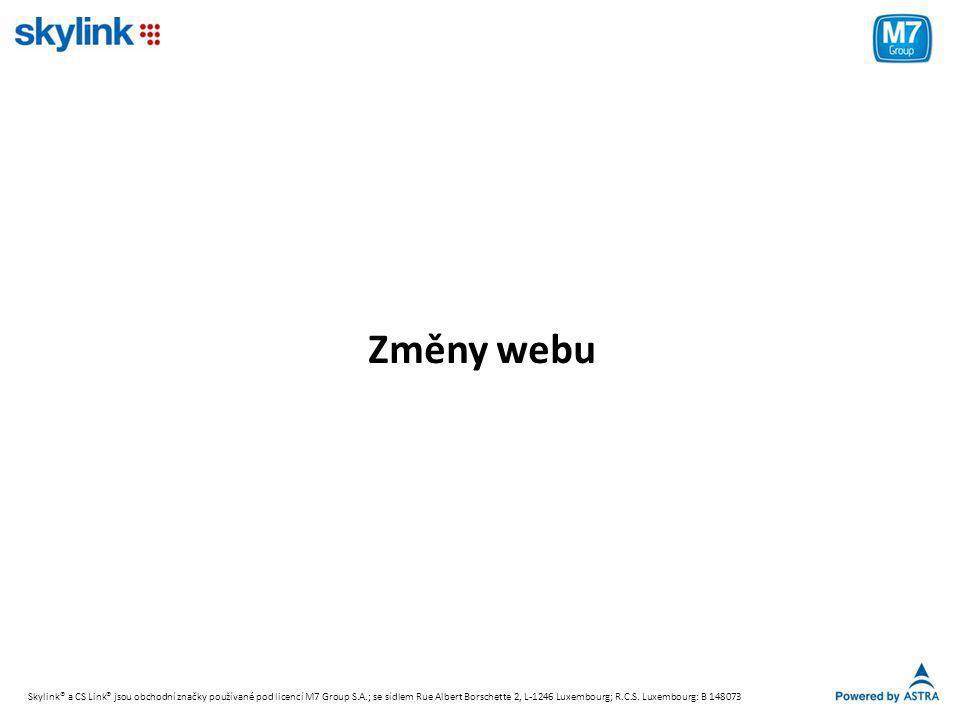 Změny webu