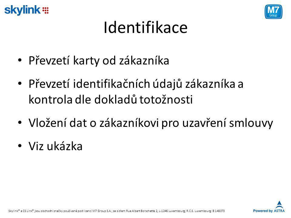 Identifikace Převzetí karty od zákazníka