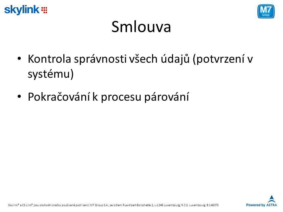 Smlouva Kontrola správnosti všech údajů (potvrzení v systému)