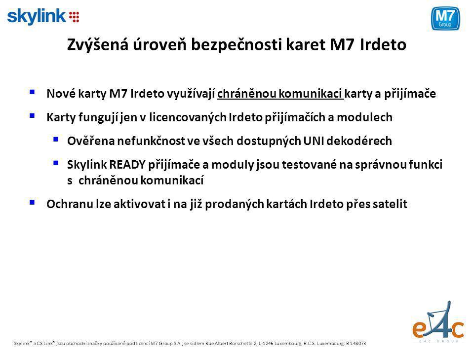 Zvýšená úroveň bezpečnosti karet M7 Irdeto