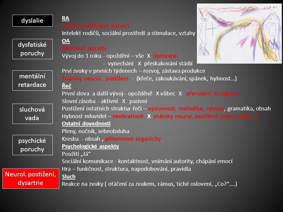 Neurol. postižení, dysartrie