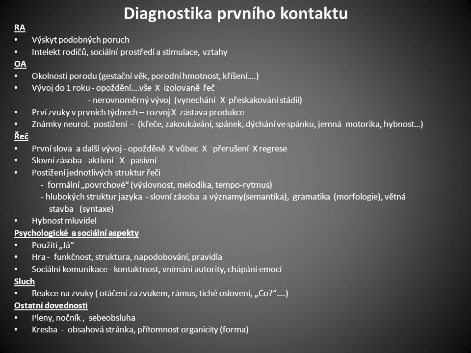 Diagnostika prvního kontaktu