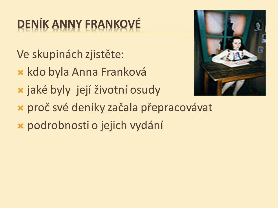 DENÍK ANNY FRANKOVÉ Ve skupinách zjistěte: kdo byla Anna Franková. jaké byly její životní osudy.