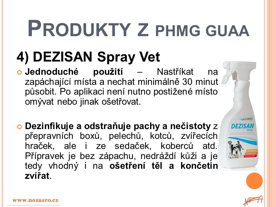 Produkty z PHMG GUAA 4) DEZISAN Spray Vet