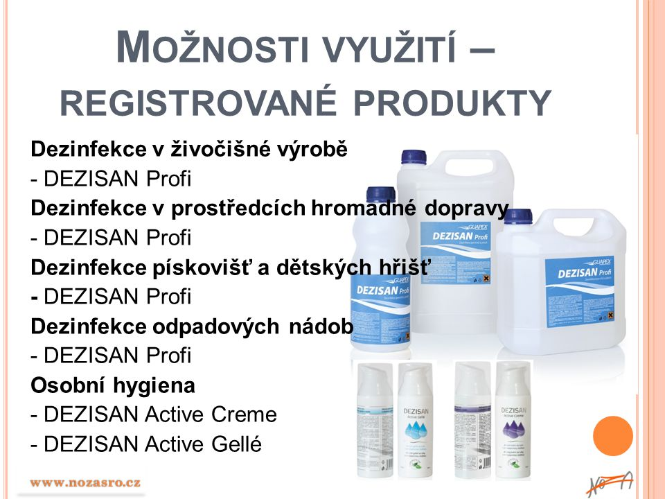 Možnosti využití – registrované produkty