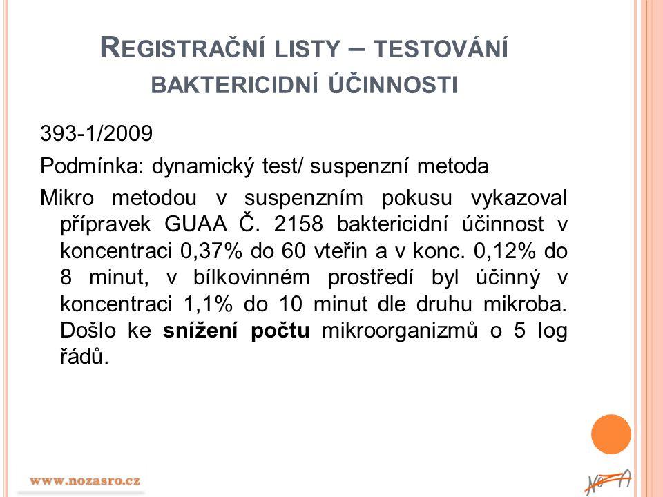 Registrační listy – testování baktericidní účinnosti