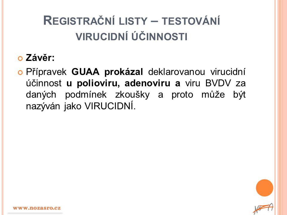 Registrační listy – testování virucidní účinnosti