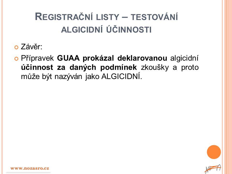 Registrační listy – testování algicidní účinnosti