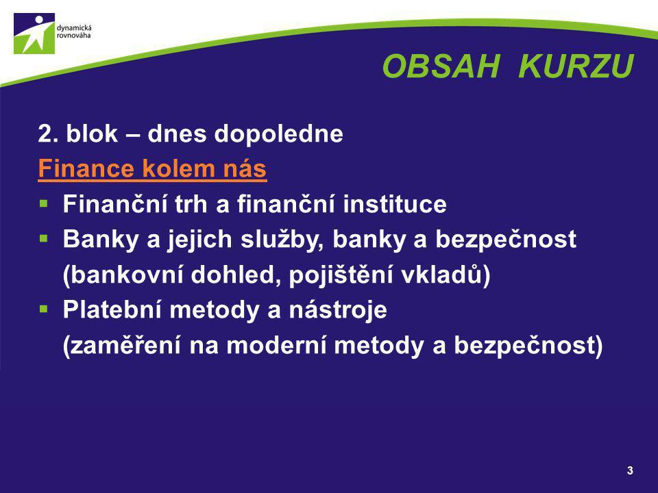 OBSAH KURZU 2. blok – dnes dopoledne Finance kolem nás