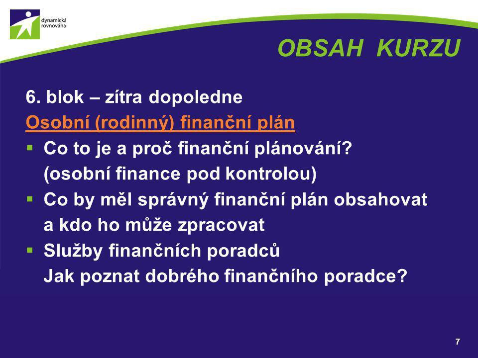 OBSAH KURZU 6. blok – zítra dopoledne Osobní (rodinný) finanční plán