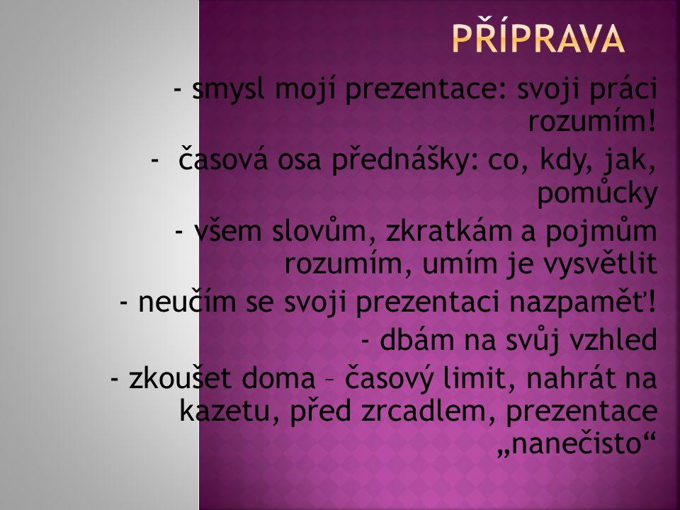 PŘÍPRAVA - smysl mojí prezentace: svoji práci rozumím!