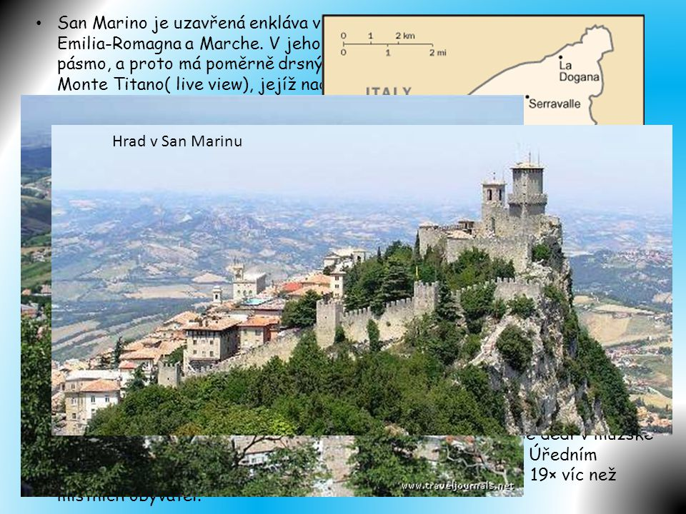 San Marino je uzavřená enkláva v Itálii, na hranici mezi italskými regiony Emilia-Romagna a Marche. V jeho topografii dominuje Apeninské horské pásmo, a proto má poměrně drsný terén. Nejvyšší bodem země je hora - Monte Titano( live view), jejíž nadmořská výška je 755 metrů. Součástí enklávy není ani jedna větší vodní plocha o nějaké významné velikosti.