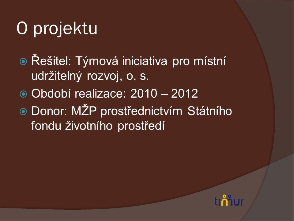 O projektu Řešitel: Týmová iniciativa pro místní udržitelný rozvoj, o. s. Období realizace: 2010 – 2012.