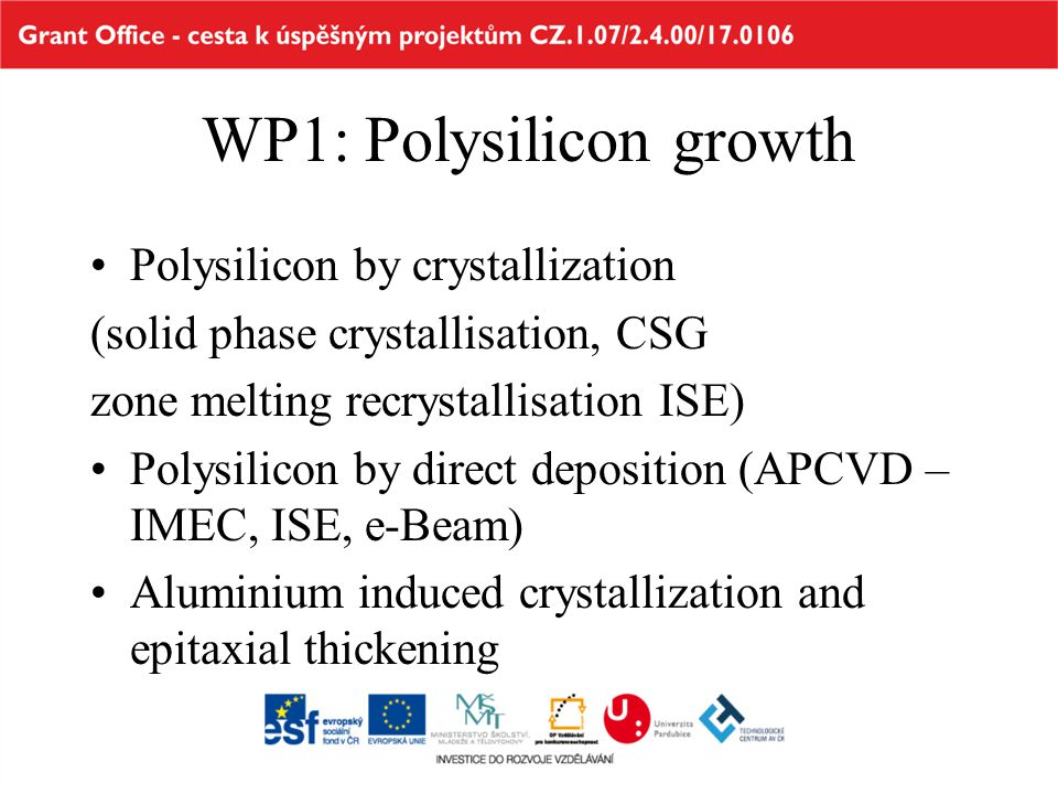 WP1: Polysilicon growth