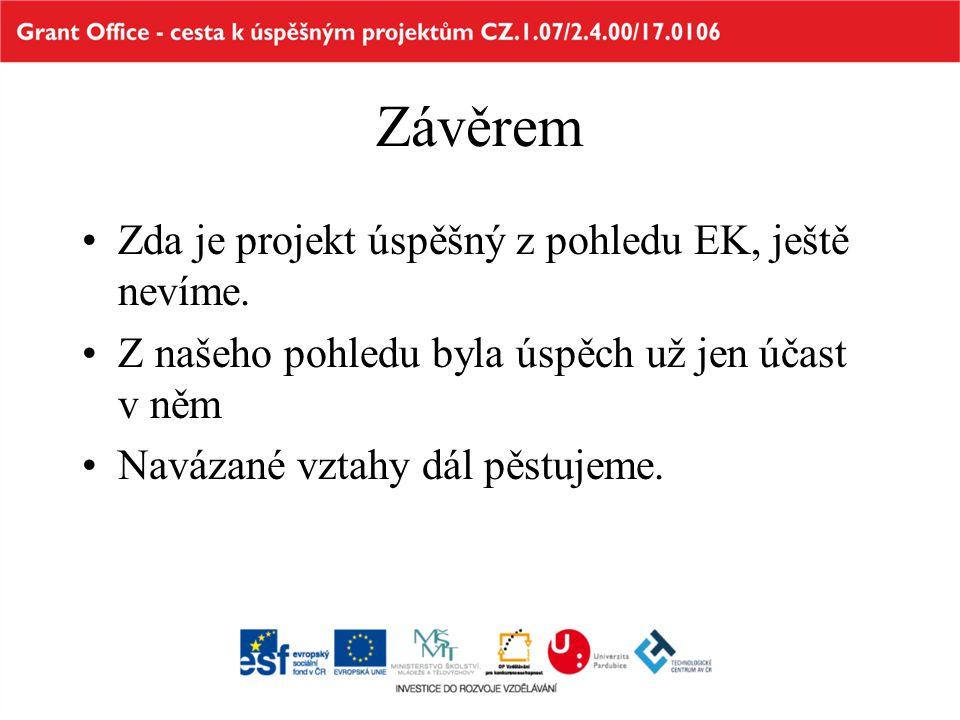 Závěrem Zda je projekt úspěšný z pohledu EK, ještě nevíme.