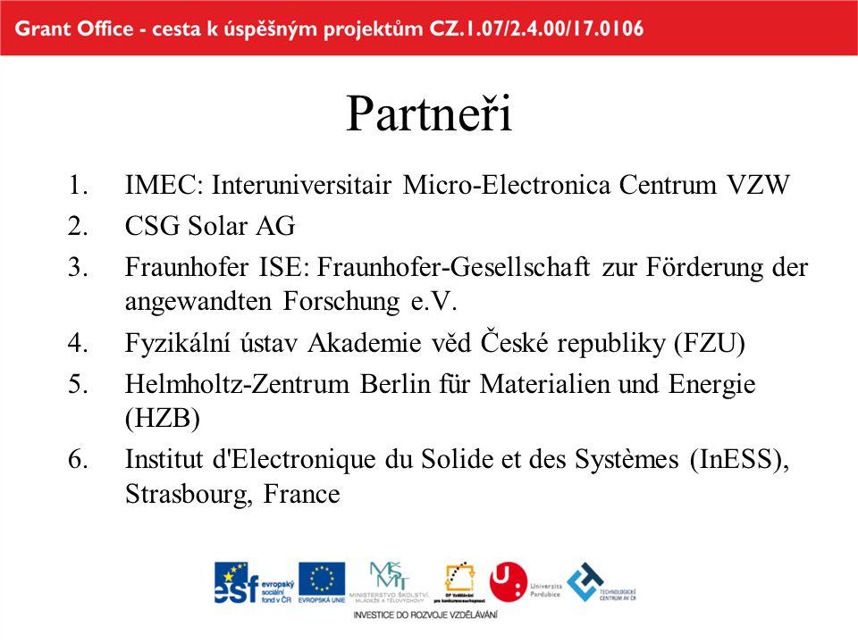 Partneři IMEC: Interuniversitair Micro-Electronica Centrum VZW
