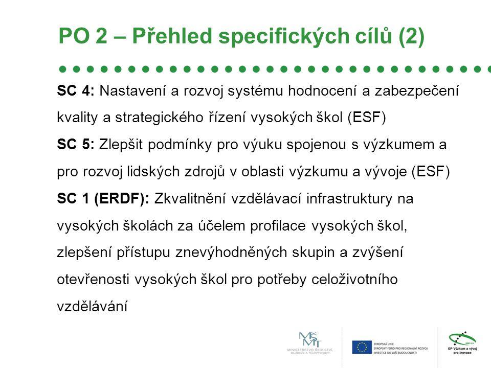 PO 2 – Přehled specifických cílů (2)